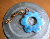 Enamel Flower Toggle in a Yummy Sky Blue Color  Handmade for your jewelry designs - Made to Order