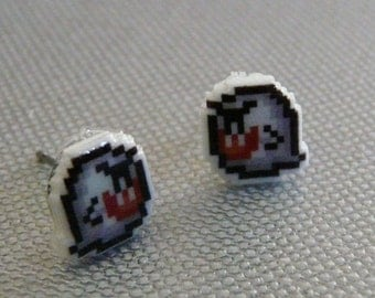 don't look now - super mario 3 boo didley earrings
