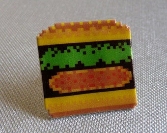 quarter pixel with cheese - burger time pin