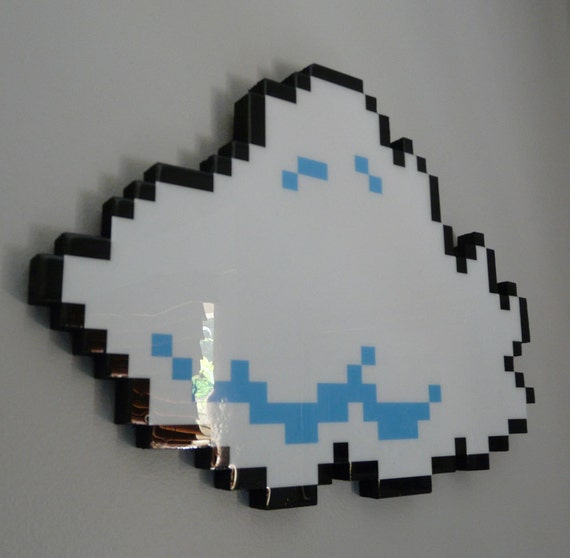 every cloud has a pixellated lining (number 1) - 8 bit cloud art