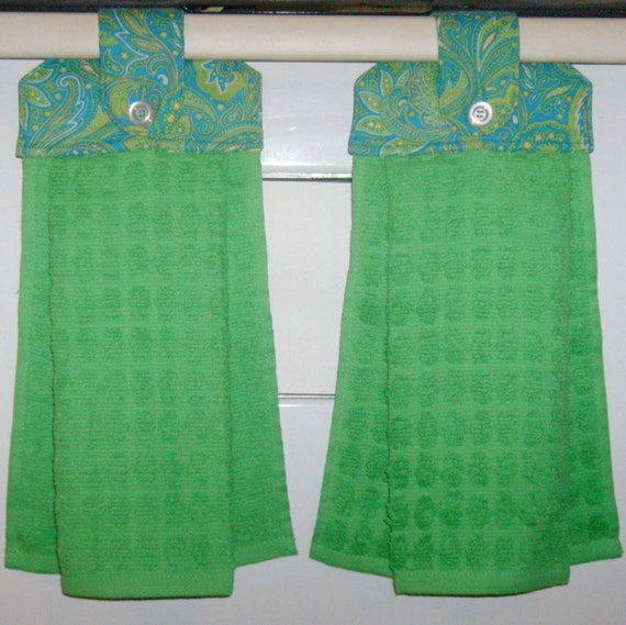 Hanging Cloth Top Kitchen Hand Towels - Blue and Green Paisley Print and Bright Green Towels - Set of 2