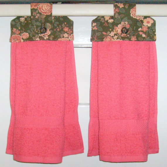 Hanging Cloth Top Kitchen Hand Towels - Bown and Coral Pink Floral Print and Pink Towels - Set of 2