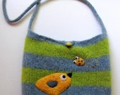 Pretty green blue striped felted handbag tote shoulderbag with a yellow birdie and little yellow bug