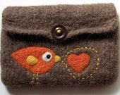 Brown felted pouch with an orange birdie says I LOVE YOU with big heart