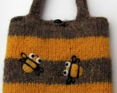 Pretty yellow brown striped felted handbag tote purse with two happy bees