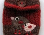 Two little birdies red brown striped hand knit felted cellphone cozy pouch