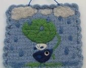 Raindrops are falling wall hanging hand knit felted needle felted fiber art with little birdies