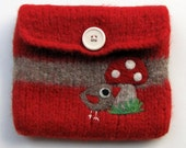 Pretty red light brown striped knit felted pouch purse with a little bird and a big toadstool