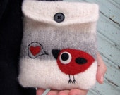 Pretty striped white gray knit felted pouch purse with needle felted bird in love