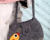 Felted bag purse wool pouch handbag hand knit needle felt yellow bird