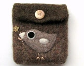 Felted bag purse wool pouch cellphone cozy hand knit needle felt little birdie and flower