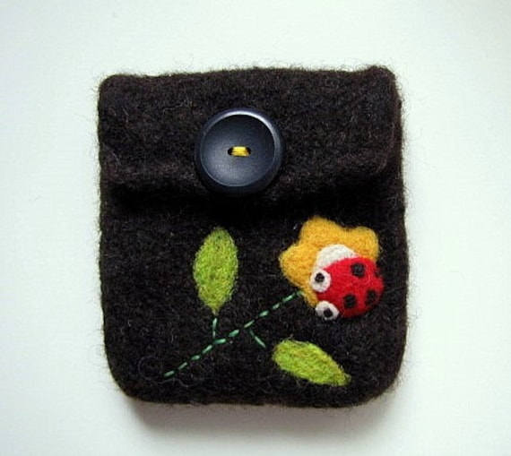 Pretty hand knit dark brown felted pouch cellphone cozy with a happy little ladybug
