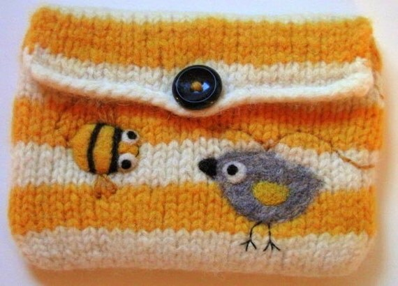 Yellow and white striped hand knit felted purse pouch with a birdie and happy little bee