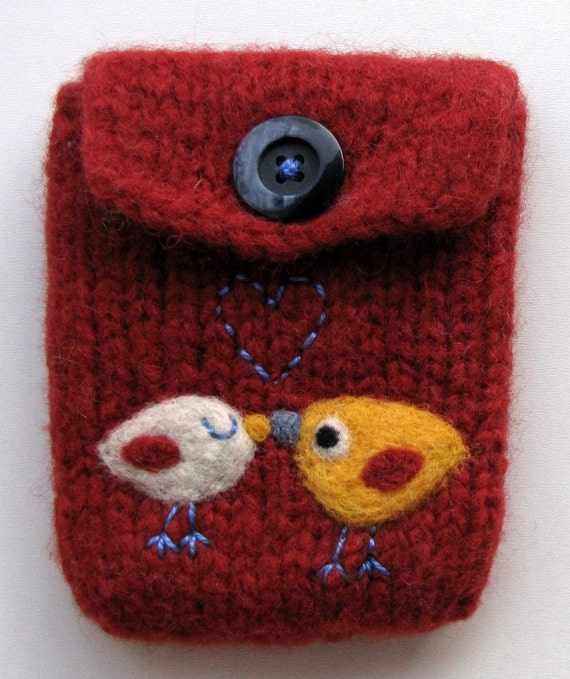 Red hand knit felted cellphone pouch purse with two little birdies in love