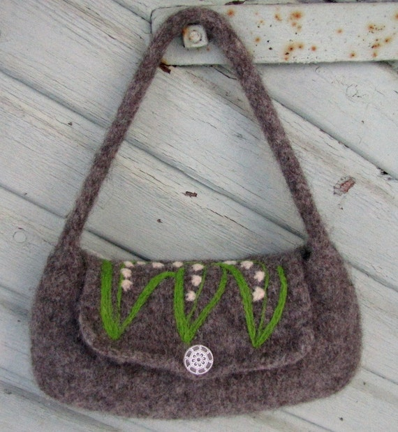 Dark gray hand knit felted bag handbag purse with beautiful Lily of the Valleys