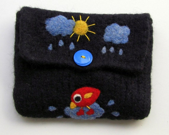 Black hand knit felted pouch with a needle felted happy bird with new pair of rubber boots