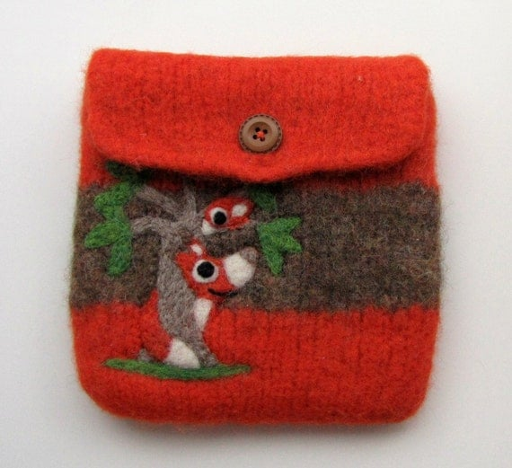 Felted  bag wool pouch purse needle felted fox and birdie