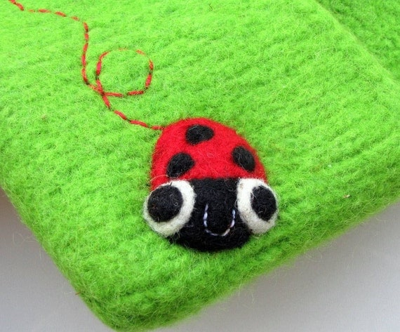 Felted bag pouch purse clutch green hand knit needle felted happy ladybug ladybird