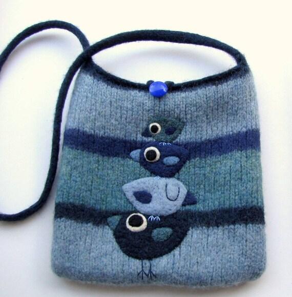 Felted bag purse wool handbag shoulderbag hand knit needle felt blue birdies birds