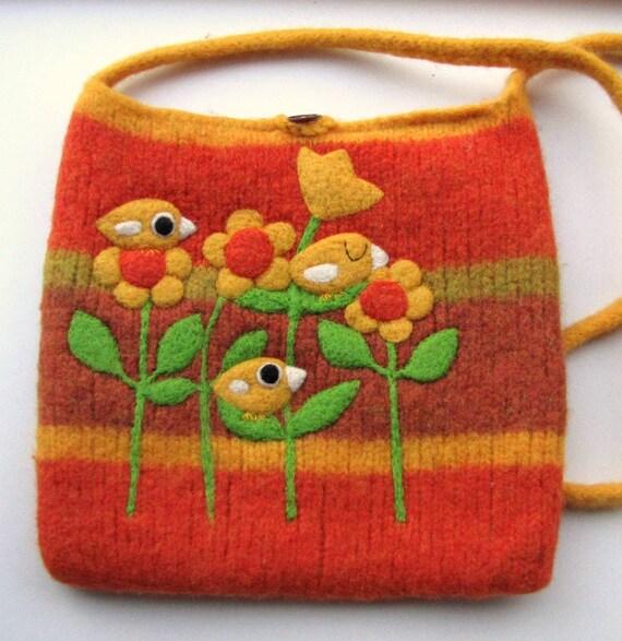 Felted large bag purse orange yellow wool handbag shoulderbag hand knit needle felt yellow birdies birds