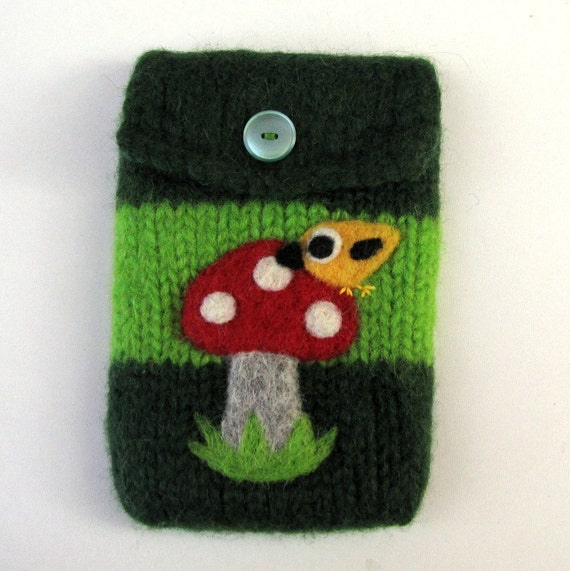 Felted bag purse green wool pouch cellphone cozy needle felt  yellow little birdie and toadstool