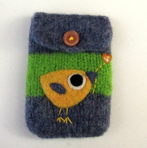 Felted bag purse blue green wool pouch cellphone cozy needle felt  yellow little birdie and heart