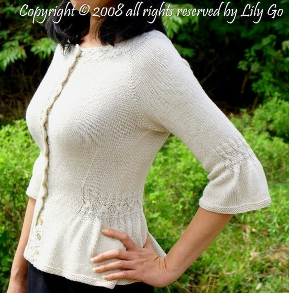 Simple Cable Cardigan Pattern in PDF File