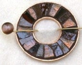 Shades of Brown Mosaic Shawl Pin - SALE