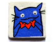Cat with Hearts -- square magnet