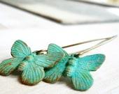 Patina butterfly earrings - verdigris brass
