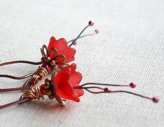 Little red flowers earrings