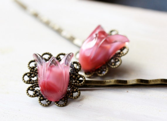 Pink tulip bobby pins - filigree and glass - SALE 20% OFF