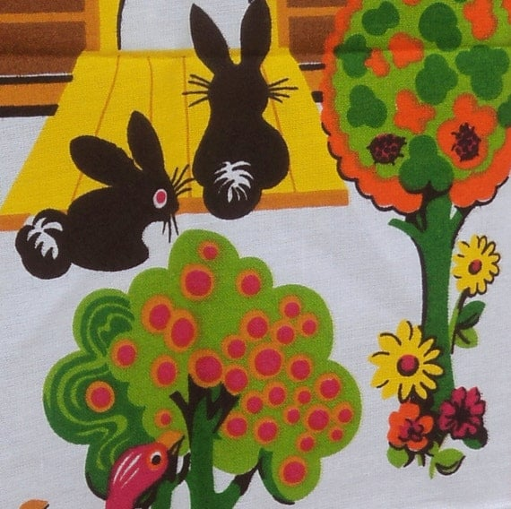 1973 vintage tea towel from Europe