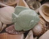 Celedon Green Ceramic Tropical Fish Cabinet Knob, Drawer Pull