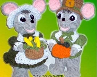 Thanksgiving Mice Crochet Patterns, crochet mouse, crochet holiday pattern, crochet animal pattern