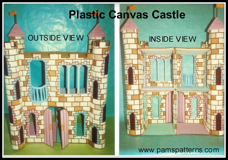 Plastic canvas castle dollhouse for fashion dolls by pamspatterns
