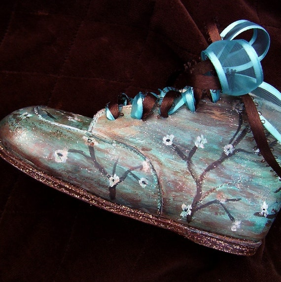 Toddler, Baby, Shoes, Girl, Leather, Turquoise, Brown, blue, hand painted, Boutique, Artisan, walking, hard soles,