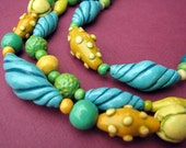 ON HOLD FOR CARTER Carnival II  Three strand polymer clay necklace
