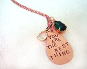 Custom Copper Song Lyric or Quote Pendant Necklace