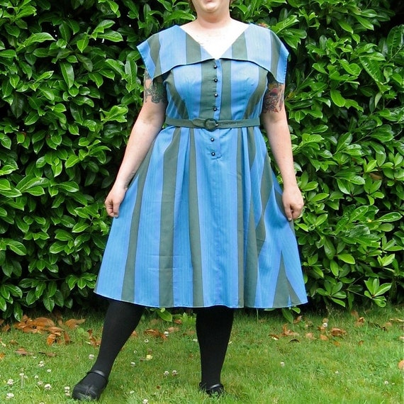 SailorStripes Dress - plus size - vintage cotton stripe fabric and rhinestone buttons - plus matching belt - 50B-42W-60H