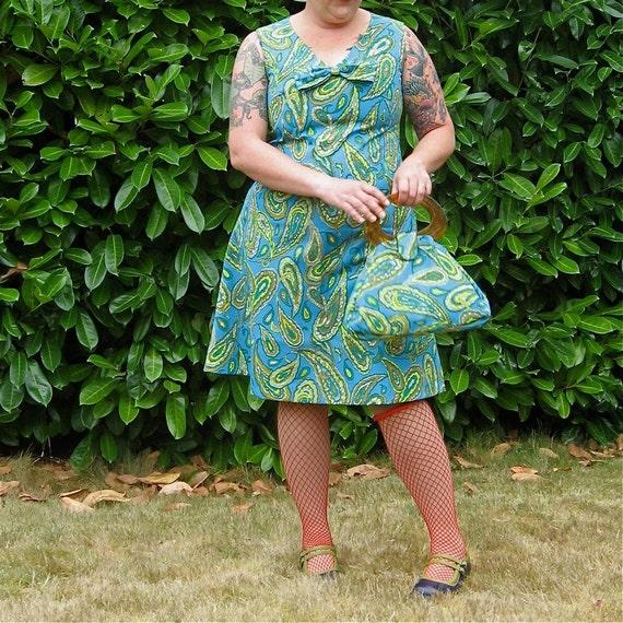 Aline Dress & Purse - plus size - turquoise chartreuse paisley print vintage fabric - 42B-40W-46H
