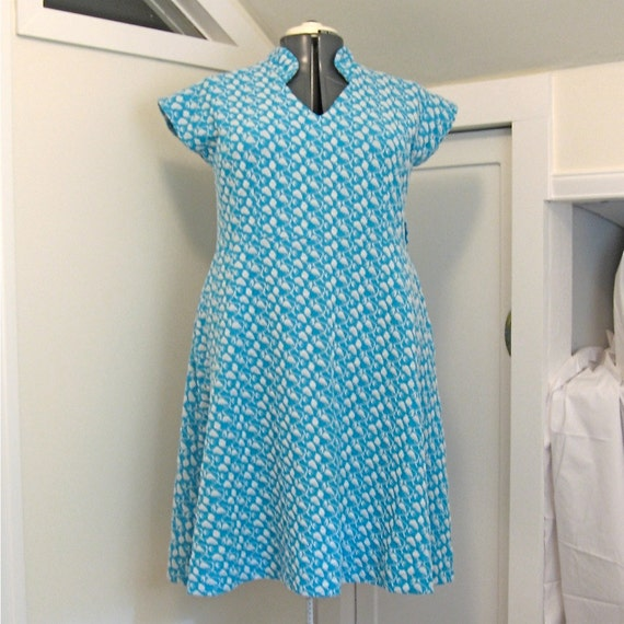 LittleCollar Dress - plus size - turquoise soft doubleknit vintage fabric - 50B-47W-58H