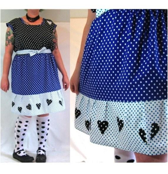 RiotLady Dress - mixed polka dot vintage fabrics and heart appliques - plus size - 52B-45W-55H