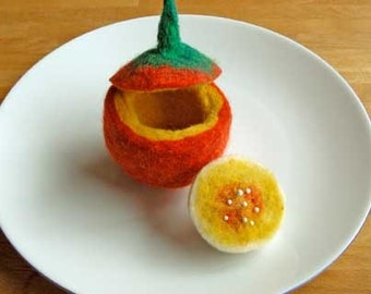 DIY- Make your own Felted Halloween Pumpkin - Pdf Instructions - INSTANT DOWNLOAD