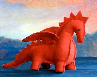 DIY Felt Patttern - PDF Instruction - The Dragon - a perfect handmade gift for a baby, child or someone special.