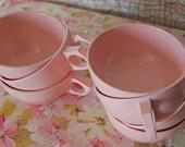 Vintage Pink Melamine Set of 6 Cups