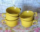 Vintage Mustard Melamine Set of 5 Cups