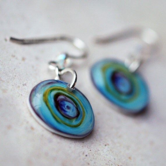 Concentric Cobalt Earrings - Handmade, sterling earwires
