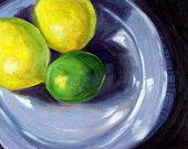 Still Life Oil Painting, Lemon Lime Citrus, Original 8x10 Wall Decor, Yellow, Green, Fruit, Abstract, Kitchen Art, Kitchen Decor