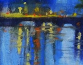 Abstract Landscape Oil Painting, Cityscape, On Canvas, Small, 5x7, French, Bridge, Night, Blue, Yellow, Orange, Reflection
